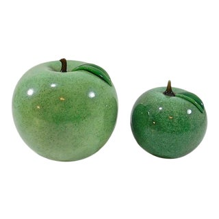 Vintage Green Apple Art Glass Paperweights by Orient & Flume - a Pair For Sale