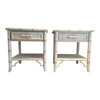 Faux Bamboo Wood Single Drawer Nightstands - A Pair