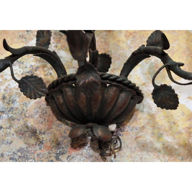Pair of Antique Italian Iron Wall Sconces For Sale - Image 4 of 6