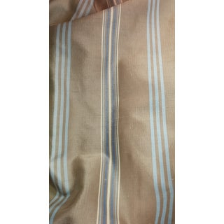 Blue & Brown Stripe Silk Drapes With Tassels - 4 Panels For Sale