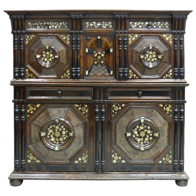 Restoration Charles II English Cabinet circa 1660-1685, Mother-of-Pearl Inlays For Sale - Image 11 of 11
