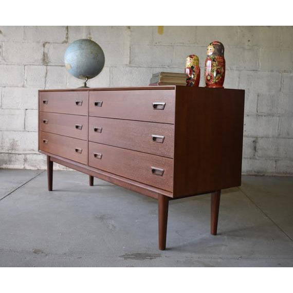 """Phenomenal Mid Century Modern styled dresser featuring """"eyelid"""" hand pulls and six wide + deep spacious drawers for plenty..."""