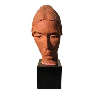 1970s Vintage Bruce Robbins Terra Cotta Female Head Sculpture For Sale