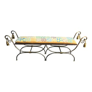 Vintage Italian Iron With Gilt Tassel and Rope Bench For Sale