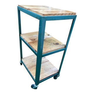 1960s Industrial Cart on Wheels With Barn Wood Slabs For Sale