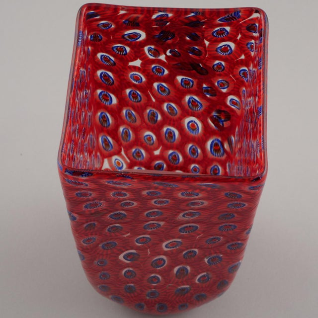 Excellent Formentello Red And Blue Murano Glass Vase Decaso