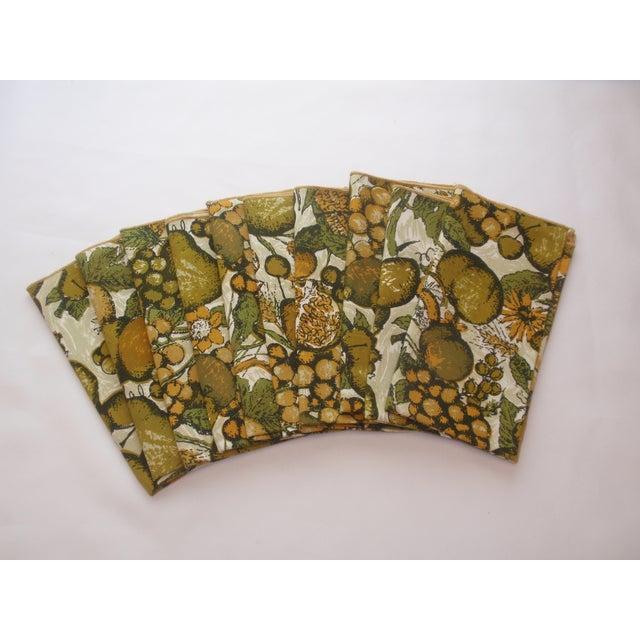 Gold Green Fruit Linen Napkins - Set of 10 - Image 2 of 4