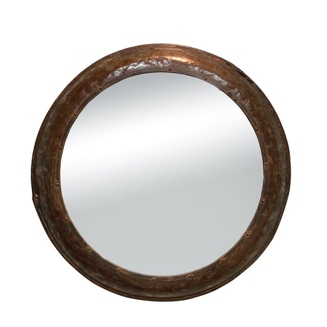 Brown Industrial Architectural Element Round Metal Mirror, English, Circa 1900 For Sale - Image 8 of 8