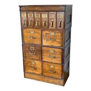 Vintage Oak Modular Stacking File Cabinet For Sale