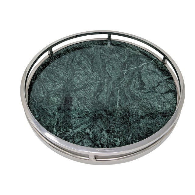 Jonathan Adler Inspired Green Marble and Chrome Serving Tray For Sale