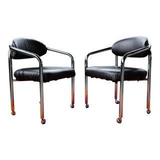 Mid Century Danish Modern 1970s Chrome Tubular Arm Chairs Chair Casters Wheels For Sale