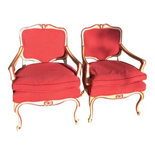 Meyer Gunther Martini Style Carved French Red and Creamy Yellow Chairs- a Pair For Sale