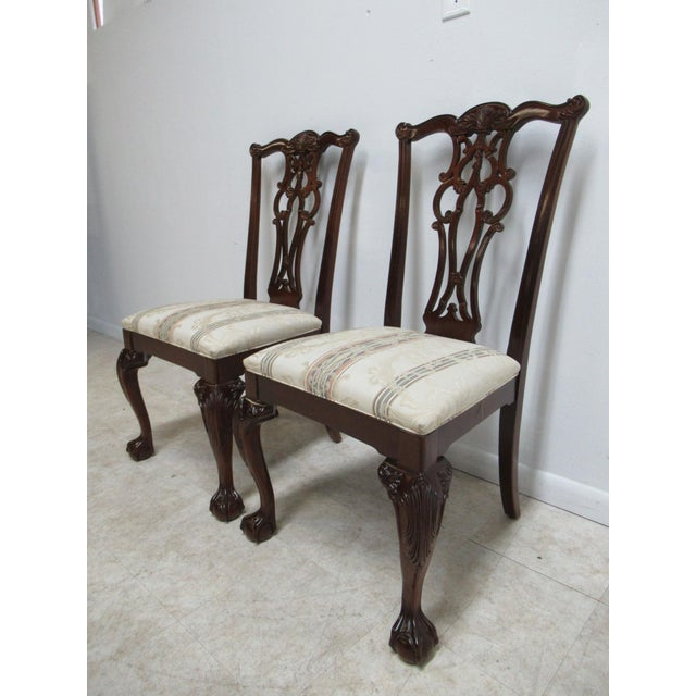 Chippendale Modern Ethan Allen 18th Century Style Mahogany Chippendale Dining Room Side Chairs- A Pair For Sale - Image 3 of 12