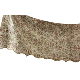 Antique 1870s French Faded Greens & Reds Quilted Textile Bed Hanging Valance For Sale