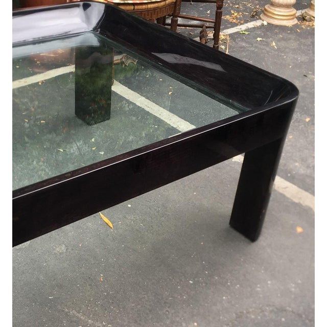 Vintage 1980's Black Lacquer Rounded Corner Coffee Table For Sale - Image 4 of 6