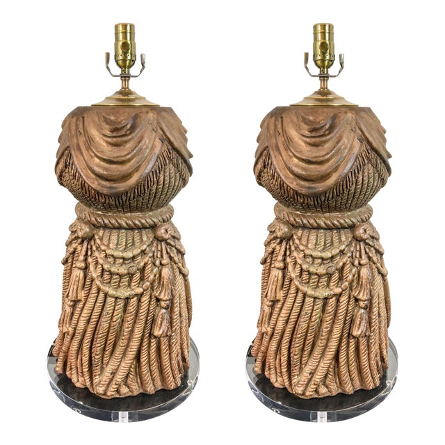 1960s Italian Tassel & Lucite Lamps - A Pair For Sale