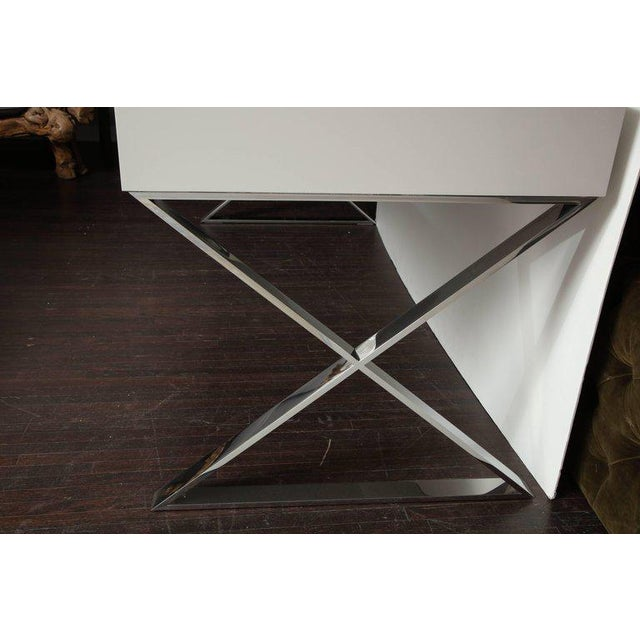 Glass Custom Oversized High Gloss Lacquer Desk For Sale - Image 7 of 10