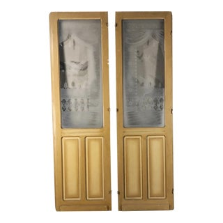Pair 19th Century Etched Glass Interior Doors