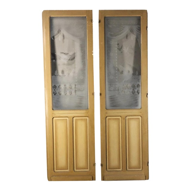 Pair 19th Century Etched Glass Interior Doors For Sale
