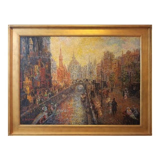 Framed E. Dechino Mid-Century Pointilism Oil on Canvas Painting For Sale