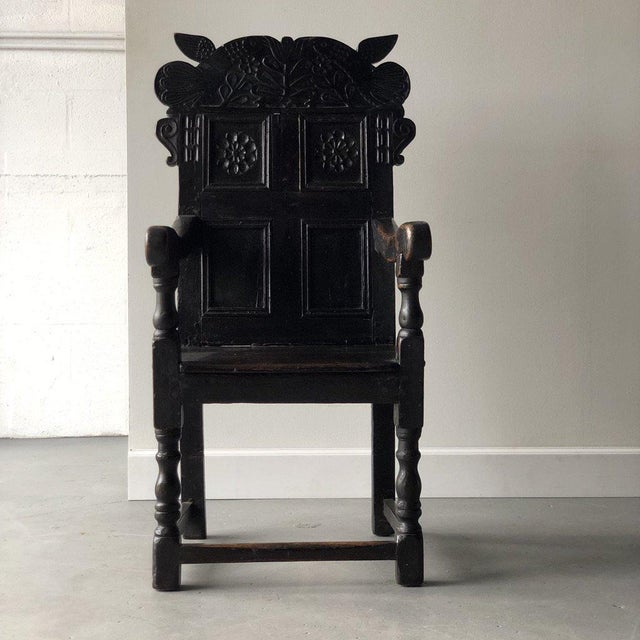 Early 19th Century British Carved Oak Great Chair For Sale - Image 5 of 5
