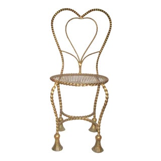 1960s Italian Gold Wrought Iron Boudoir Chair For Sale