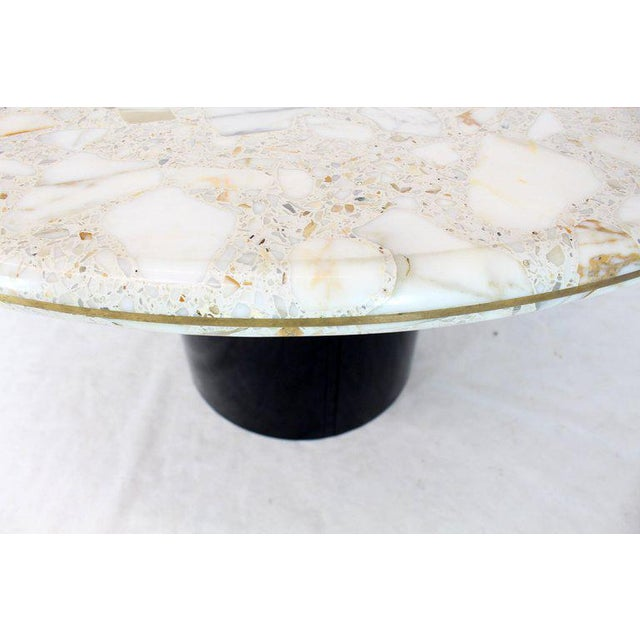 Round Marble Top Cylinder Base Center Conference Gueridon Dining Table For Sale In New York - Image 6 of 10