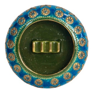 1960s Aldo Londi Bitossi Green and Rimini Blue Ashtray For Sale