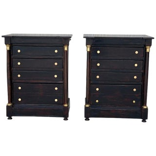 French Louis XVI Black Ebonized Nightstands or Side Table With Columns For Sale