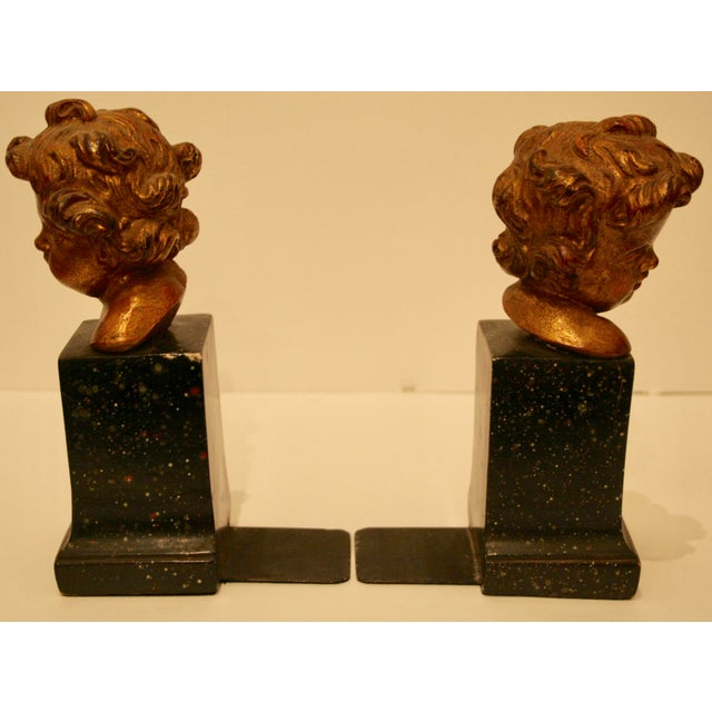 Plaster Rare Vintage Borghese Putti Cherub Gilt Bookends - A Pair For Sale - Image 7 of 10
