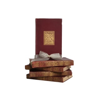 Antique Book Gift Set: Ornate Poetry in Merlot, S/5 For Sale