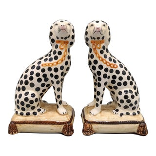 1970s Fitz and Floyd Staffordshire Style Dalmatian Dog Bookends - a Pair For Sale
