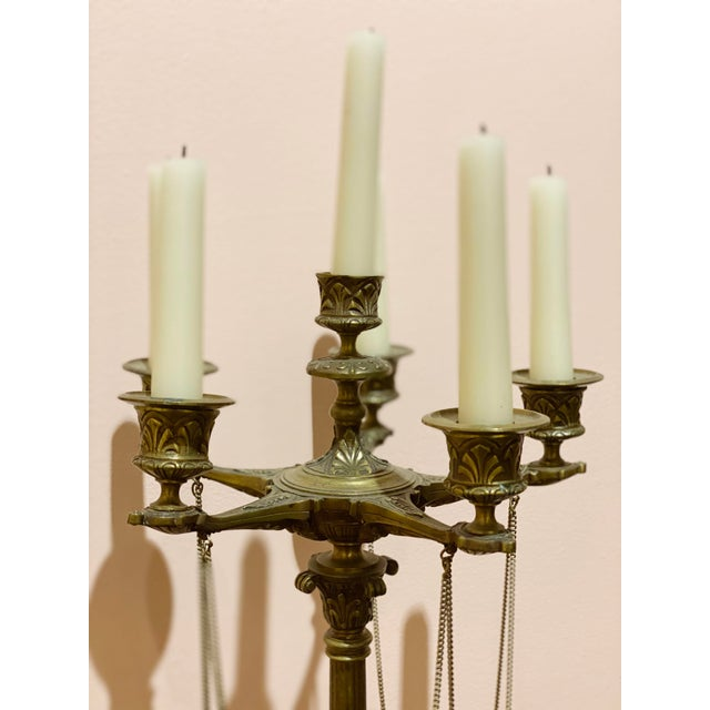 Metal French Empire Bronze Candelabrum - a Pair For Sale - Image 7 of 12