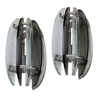 Rare Pair of Art-Deco Period Glass Sconces With Chrome Details, European For Sale
