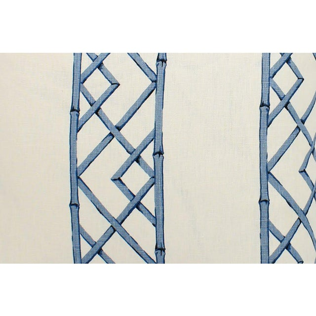 Pair of custom blue-and-ivory bamboo trellis pattern pillows. Solid ivory linen backs and cording. Custom ultra-plump...