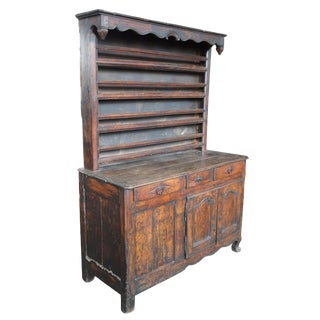 18th Century Rustic French Country China Hutch Cupboard Sideboard Buffet For Sale
