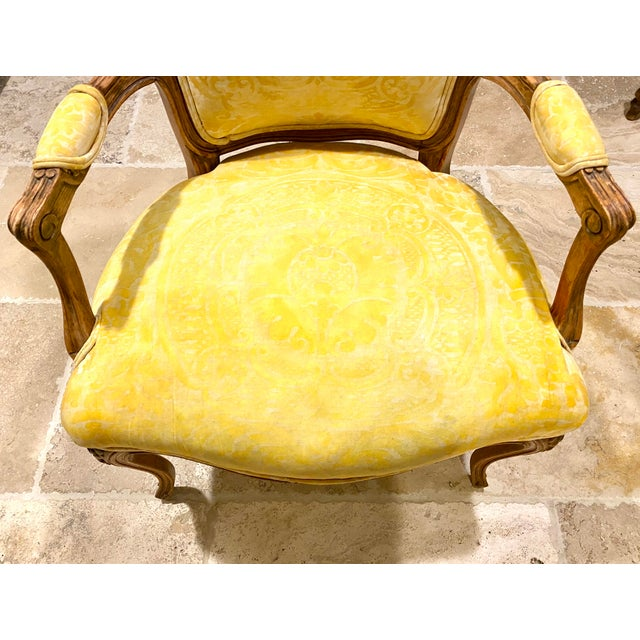 Light Yellow French Fauteuil in Fortuny Fabric For Sale - Image 8 of 10