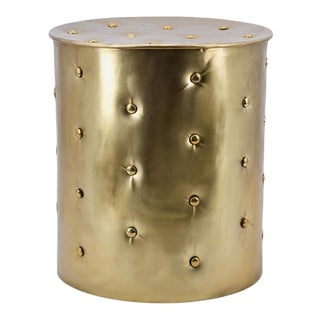 Gold Button Embellished Brass Stool For Sale