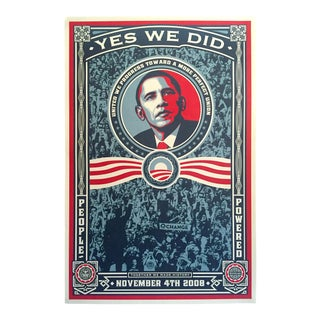 "Shepard Fairey Rare "" Yes We Did "" 2008 Obama Election Lithograph Print Collector's Poster For Sale"