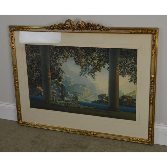 "Art Nouveau Maxfield Parrish ""Daybreak Vintage Framed Print or Lithograph For Sale - Image 3 of 13"