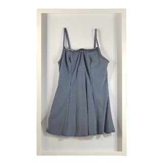 Framed Blue & White Vintage Swim Suit For Sale