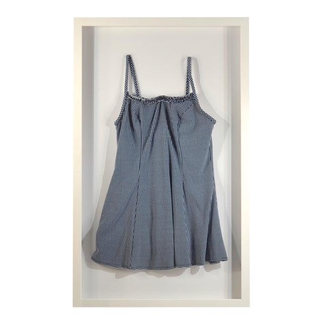 Framed Blue & White Vintage Swim Suit For Sale
