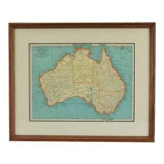 Late 19th Century Antique Rand McNally Australia Map For Sale