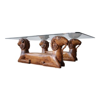 Carved Wood Double Rams Head Coffee Table For Sale