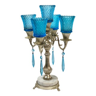 Silver Tones Five Candle Blue Crystals Hurricanes Candelabra For Sale