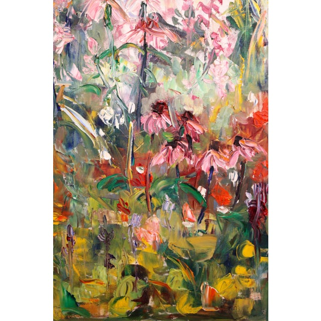 """Late 20th Century Large Impressionist Botanical Framed Original Oil Painting, """"Fire Candle"""" by Geraldine Harty For Sale - Image 5 of 13"""