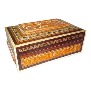 Anglo-Indian Carved Sandalwood, Inlaid Bone & Khatam Mosaic Box With Key For Sale
