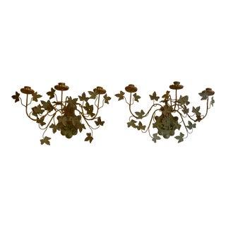 1960s Italian Floretine Ivy Tole Sconces - a Pair For Sale