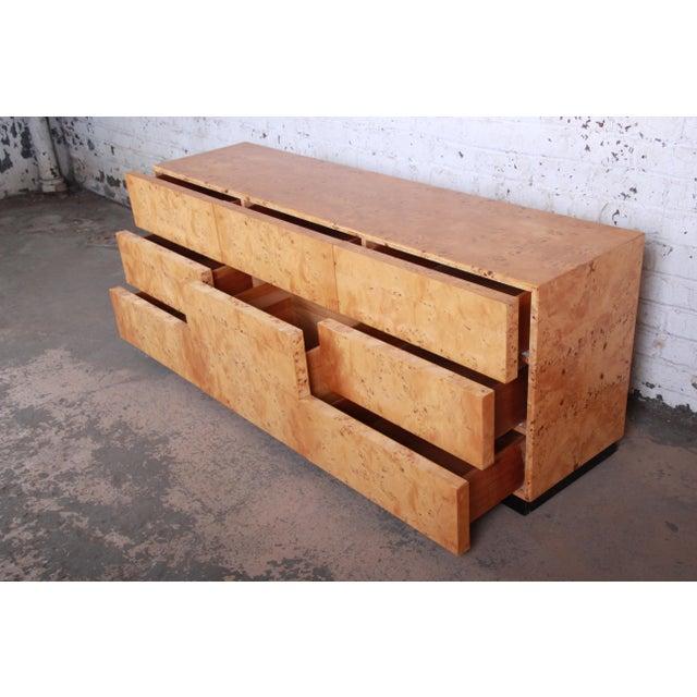 Brown Milo Baughman Burled Olive Wood Long Dresser or Credenza For Sale - Image 8 of 12