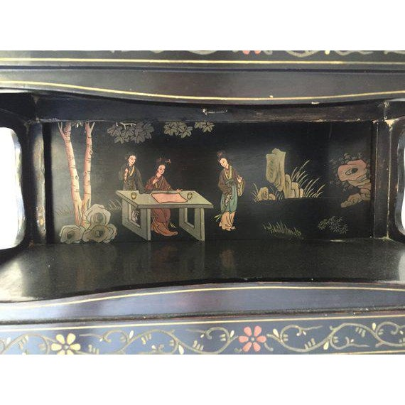 Wonderful Vintage Asian Black Server/Bar 24 x 36 x 12 Excellent Condition. Unusually good library scene in galley. Black...